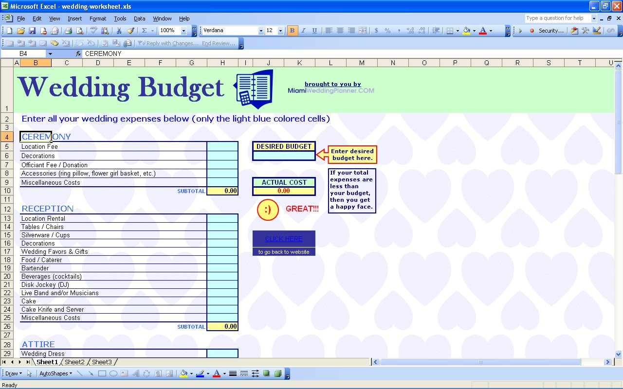 budget planner for wedding