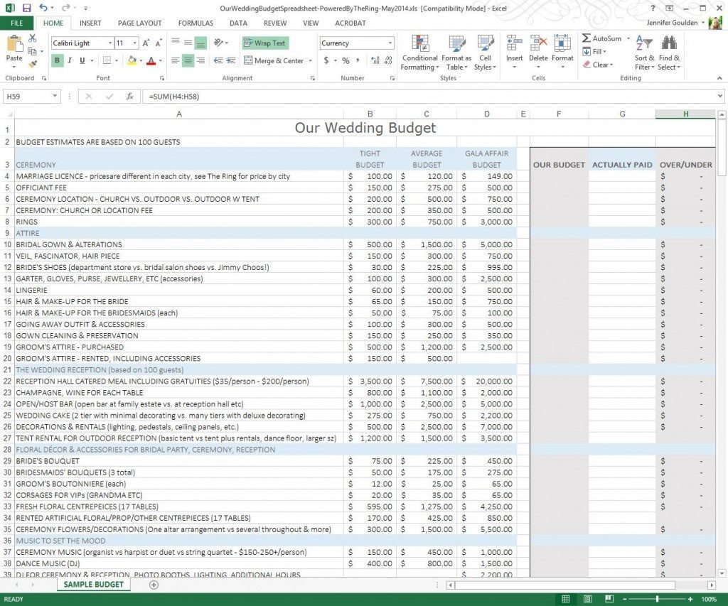 wedding budget excel spreadsheet uk