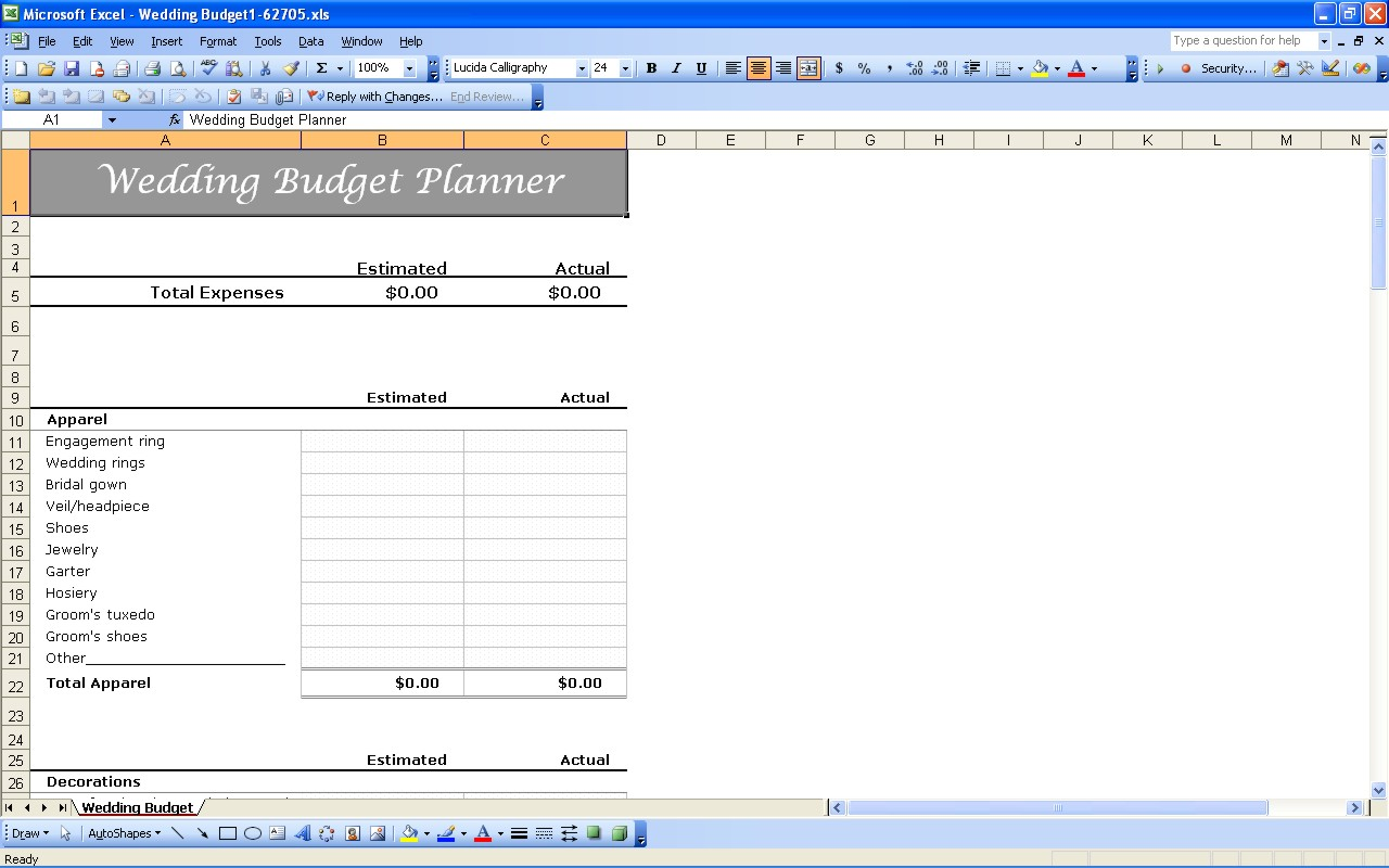 wedding budget planner xls