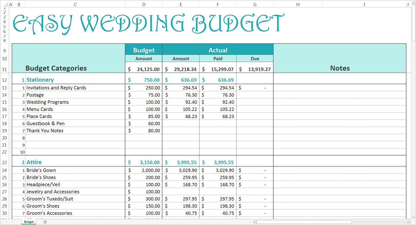 wedding budget spreadsheet excel