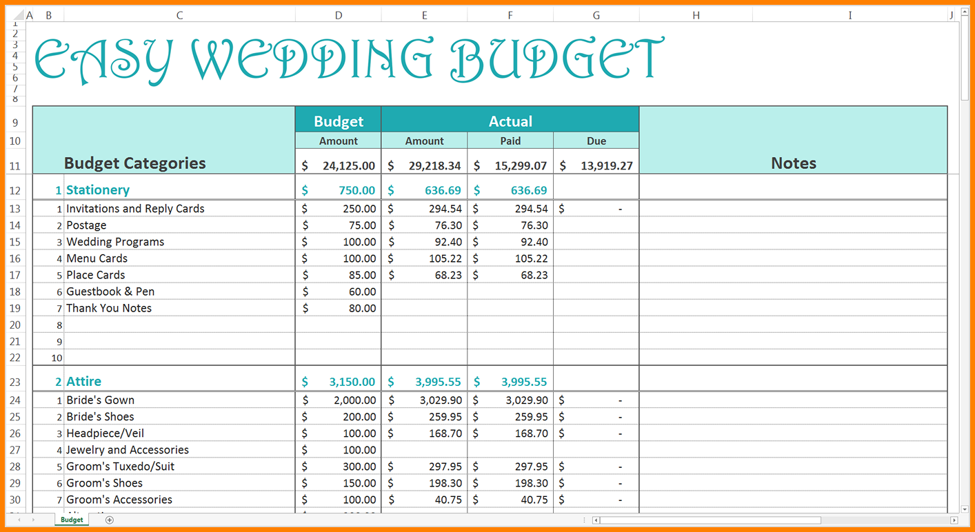 wedding budget spreadsheet free