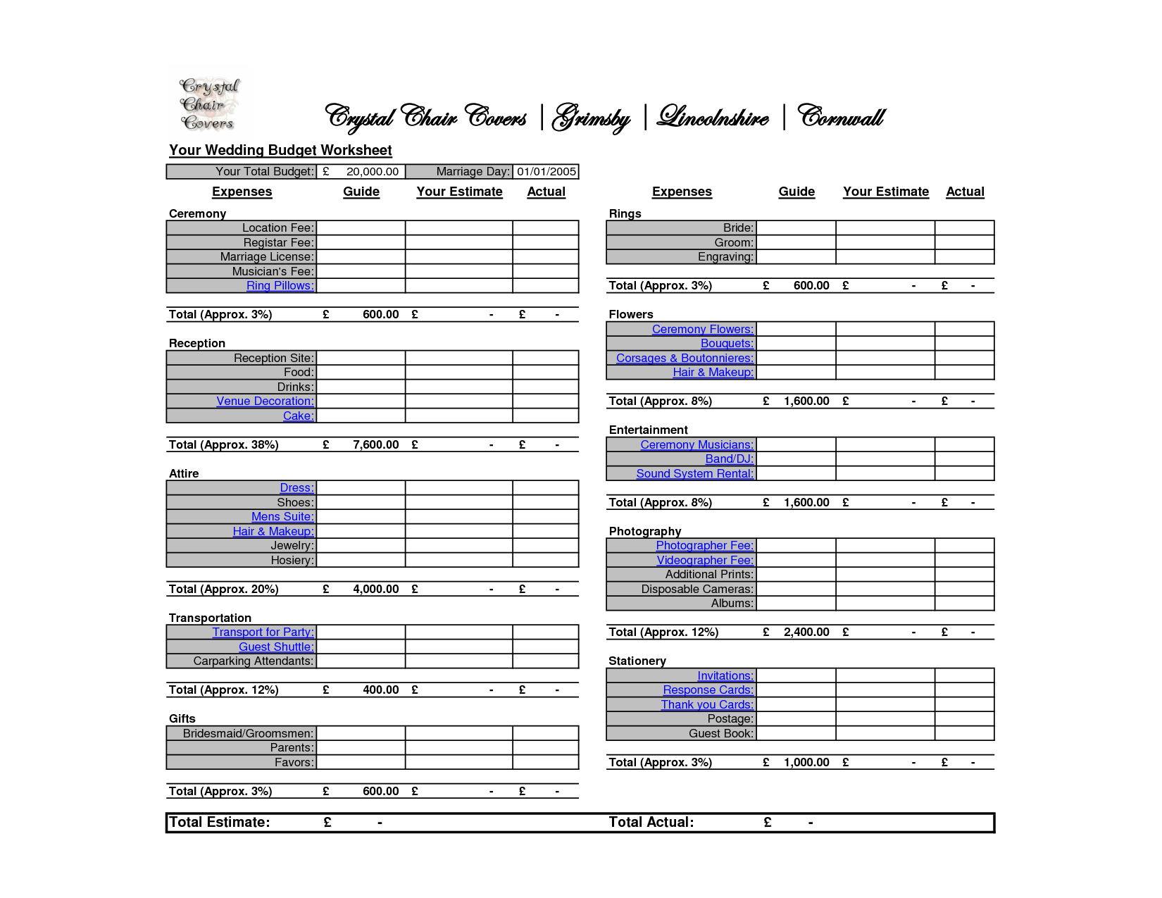 wedding budget spreadsheet google