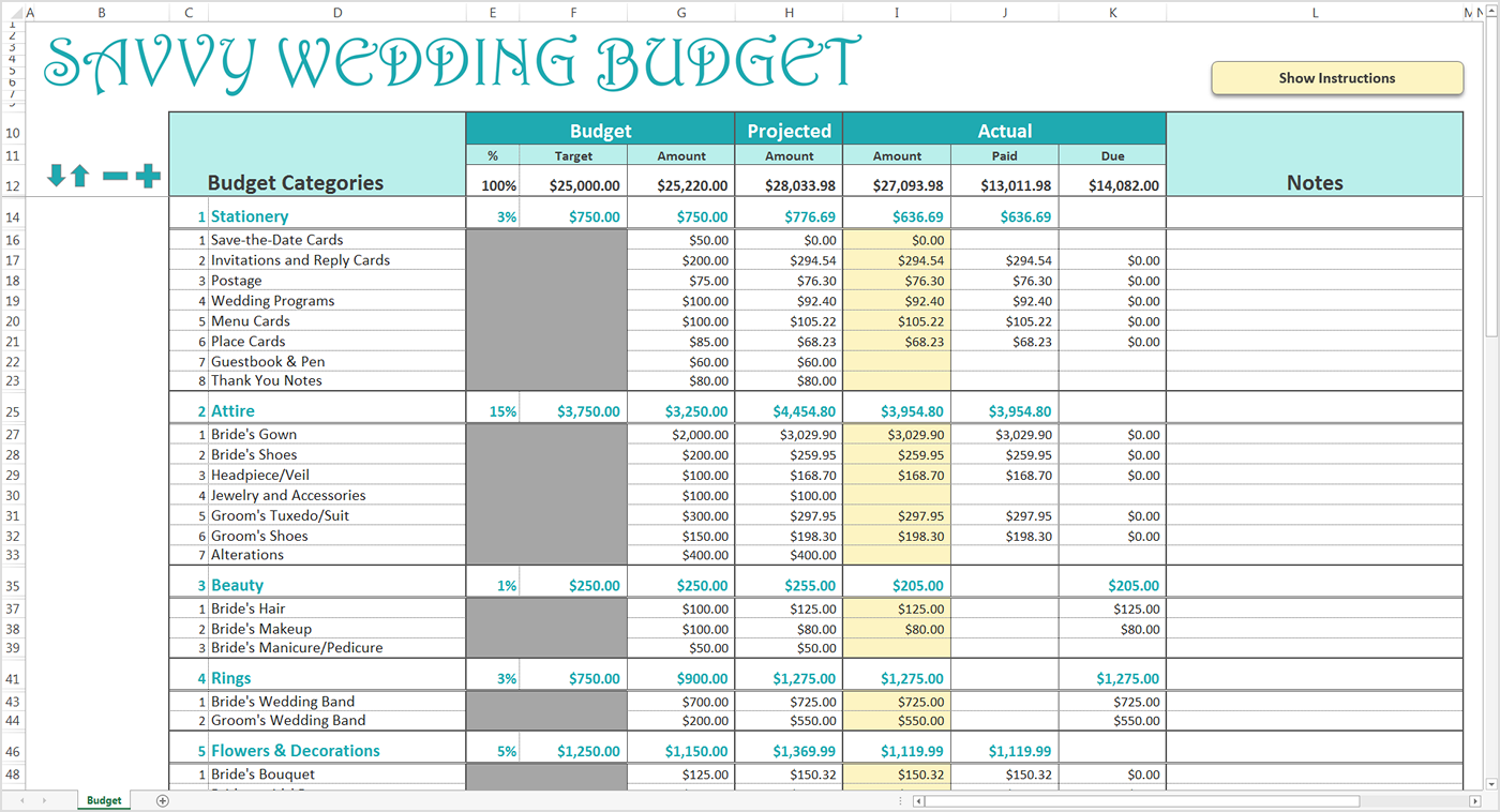Wedding Budget Spreadsheet | LAOBINGKAISUO.COM