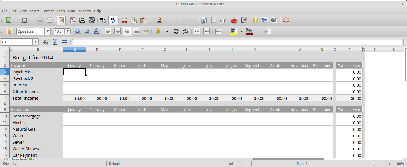 Open Document Spreadsheet