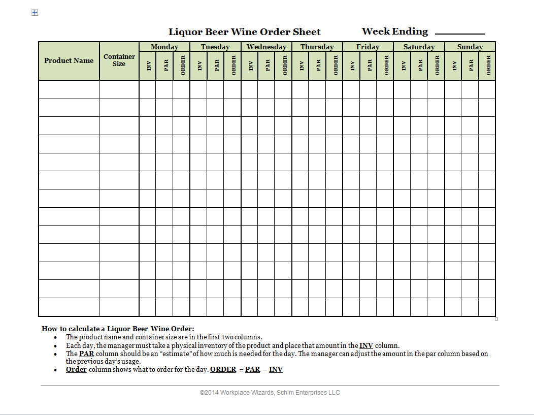 Bar Liquor Inventory Spreadsheet templates free