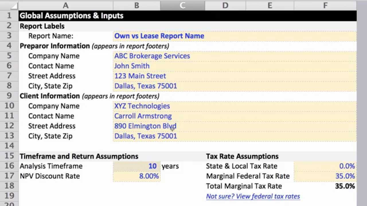 Commercial Lease Analysis Spreadsheet Free
