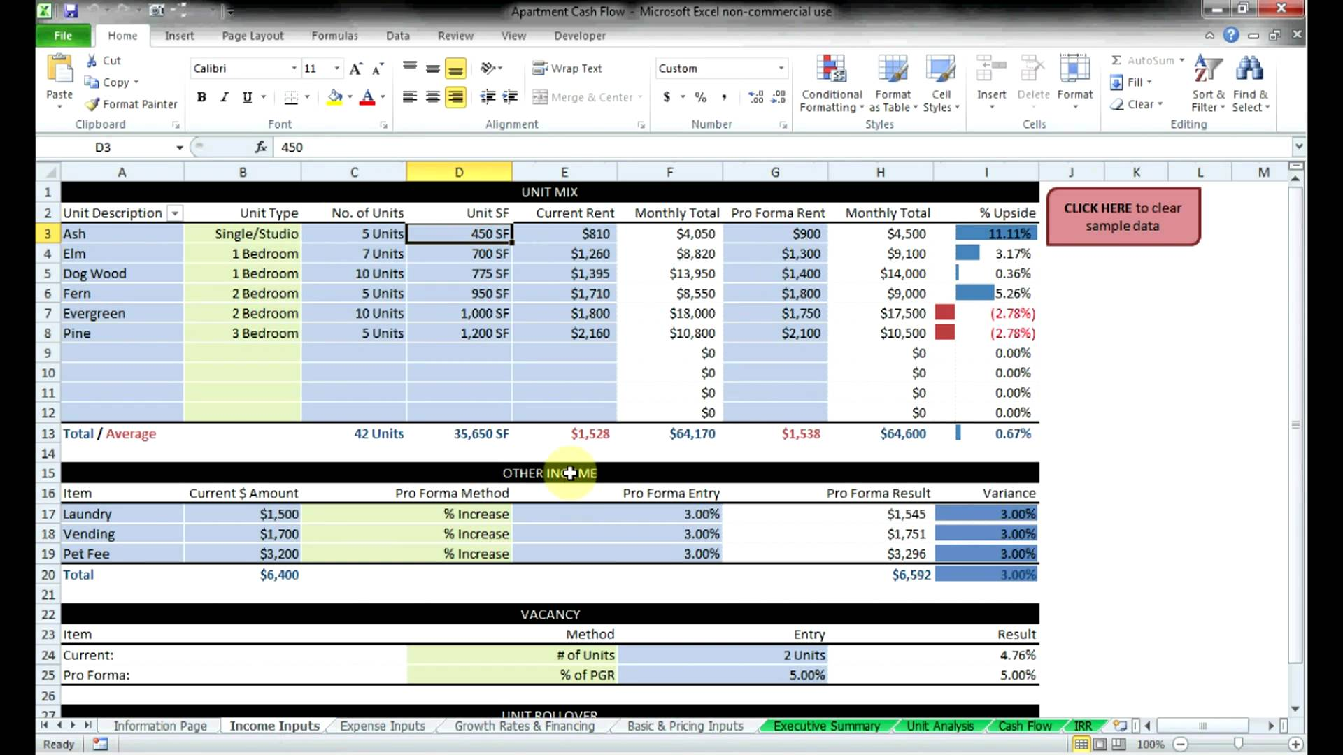 Commercial Lease Analysis Spreadsheet Templates Free