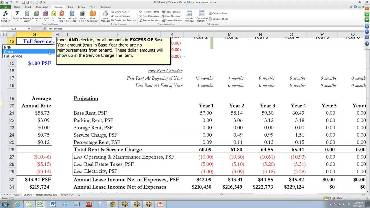 Commercial Lease Analysis Spreadsheet