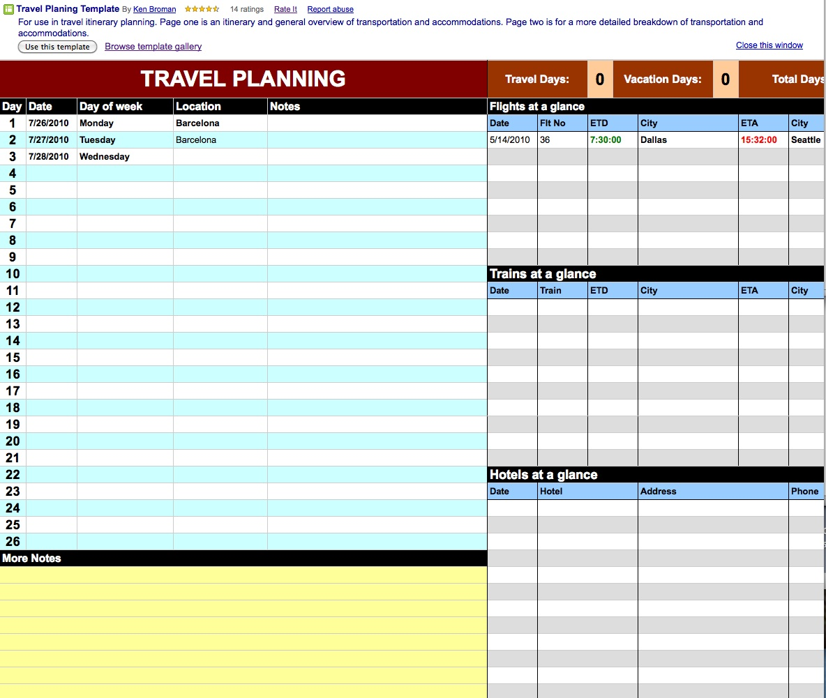 Download Travel Spreadsheet Excel Templates Free