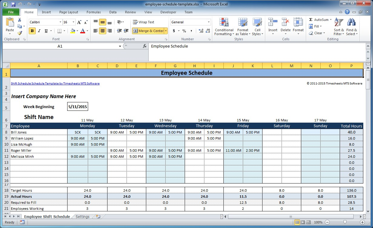 Employee Shift Scheduling Spreadsheet