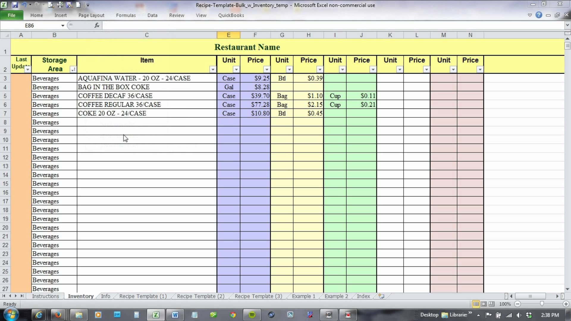 Food Cost Inventory Spreadsheet Free
