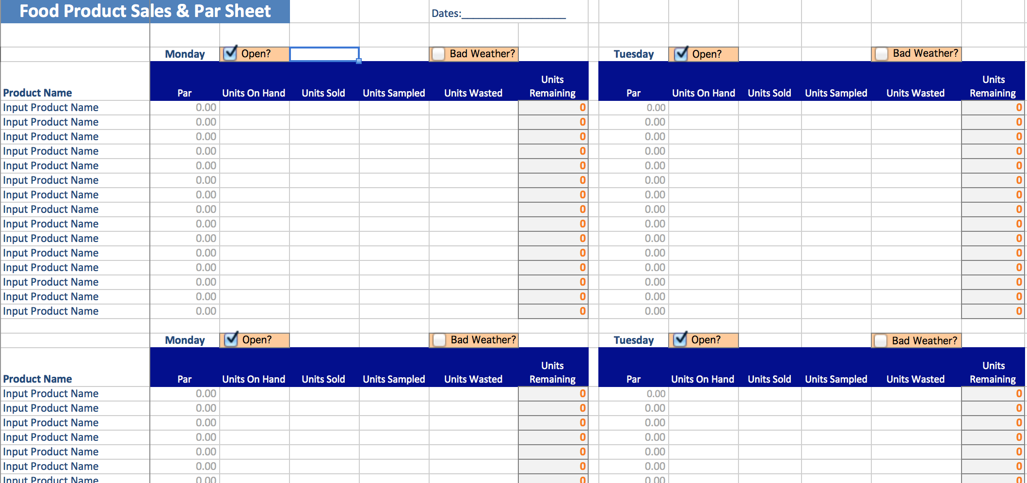 Food Cost Inventory Spreadsheet Templates