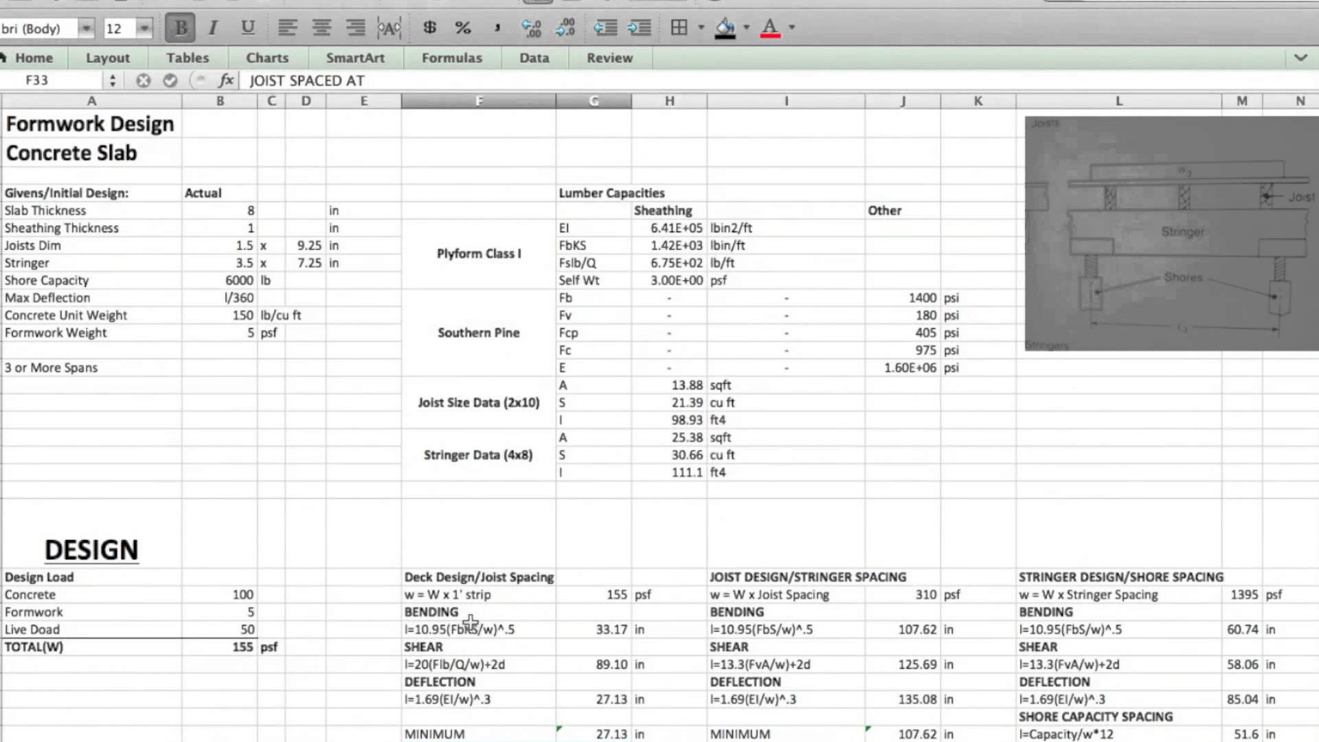 Formwork Design Spreadsheet