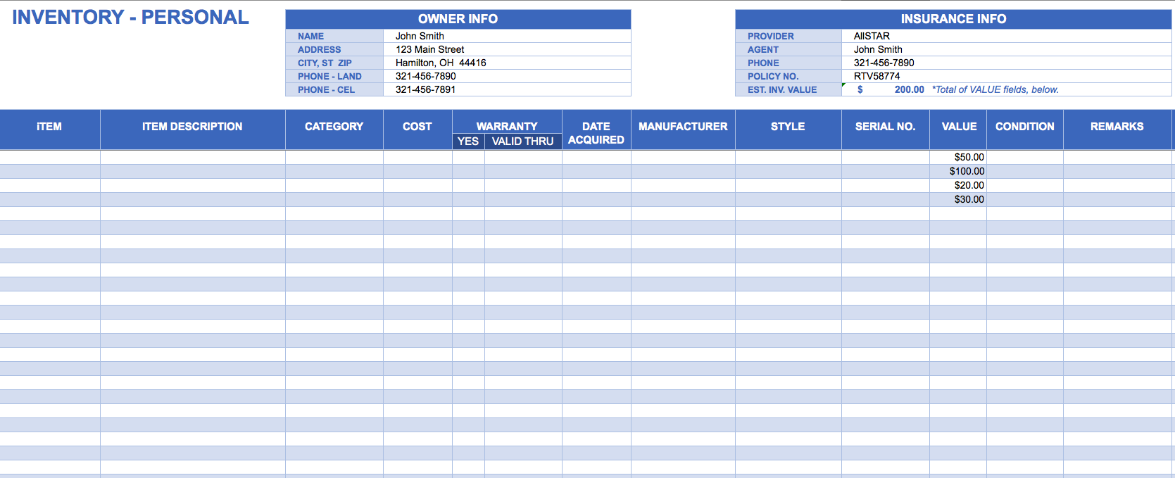 Free Bakery Inventory Spreadsheet Templates