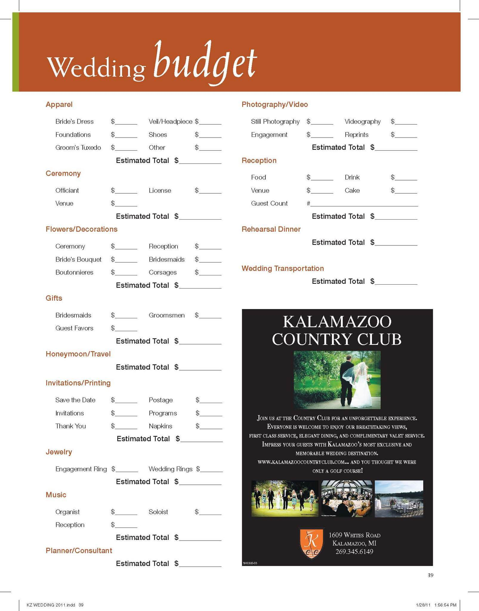 Free Printable Wedding Budget Spreadshee