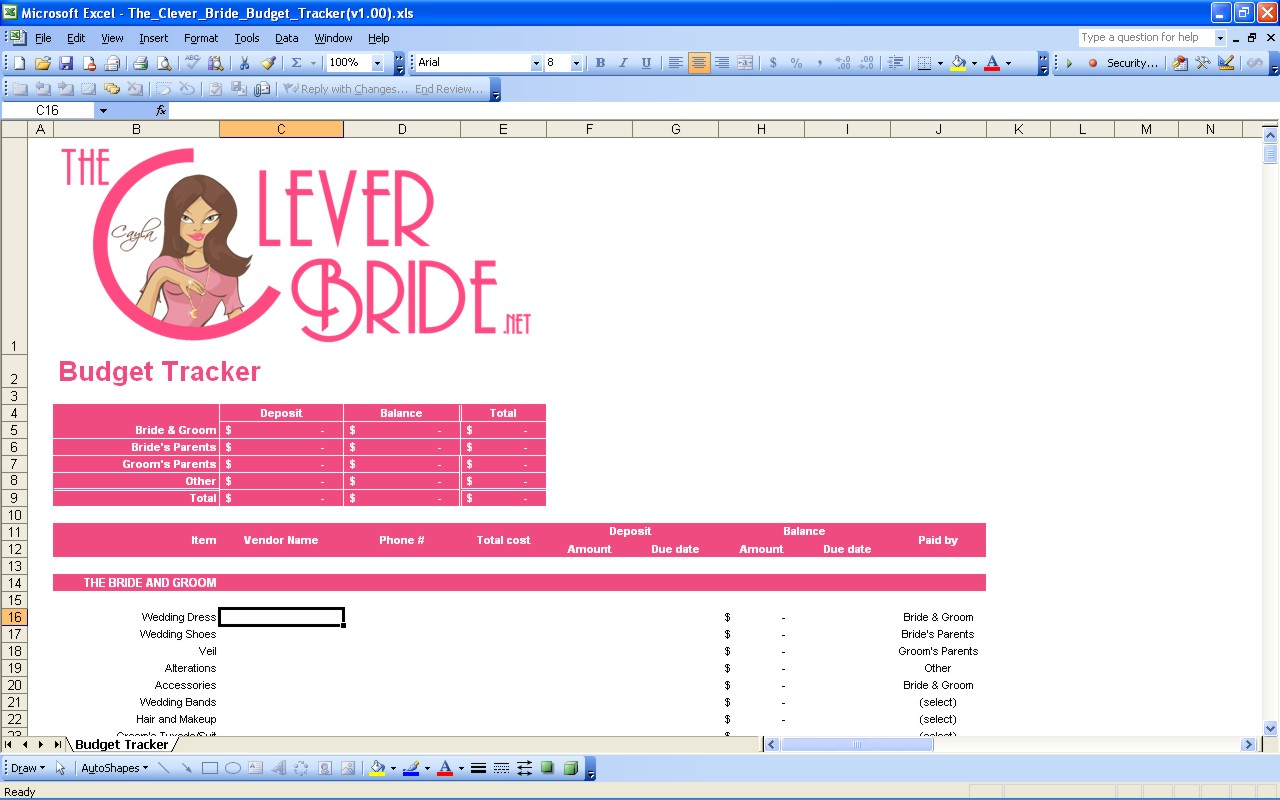 Free Template Printable Wedding Budget Spreadshee