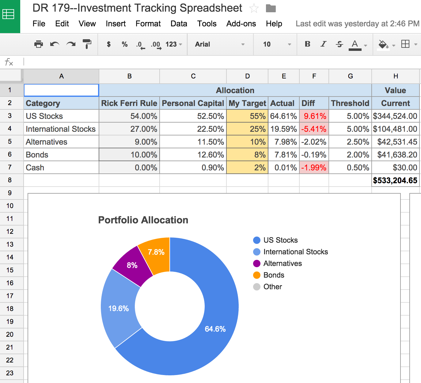 Free investment tracking spreadsheet