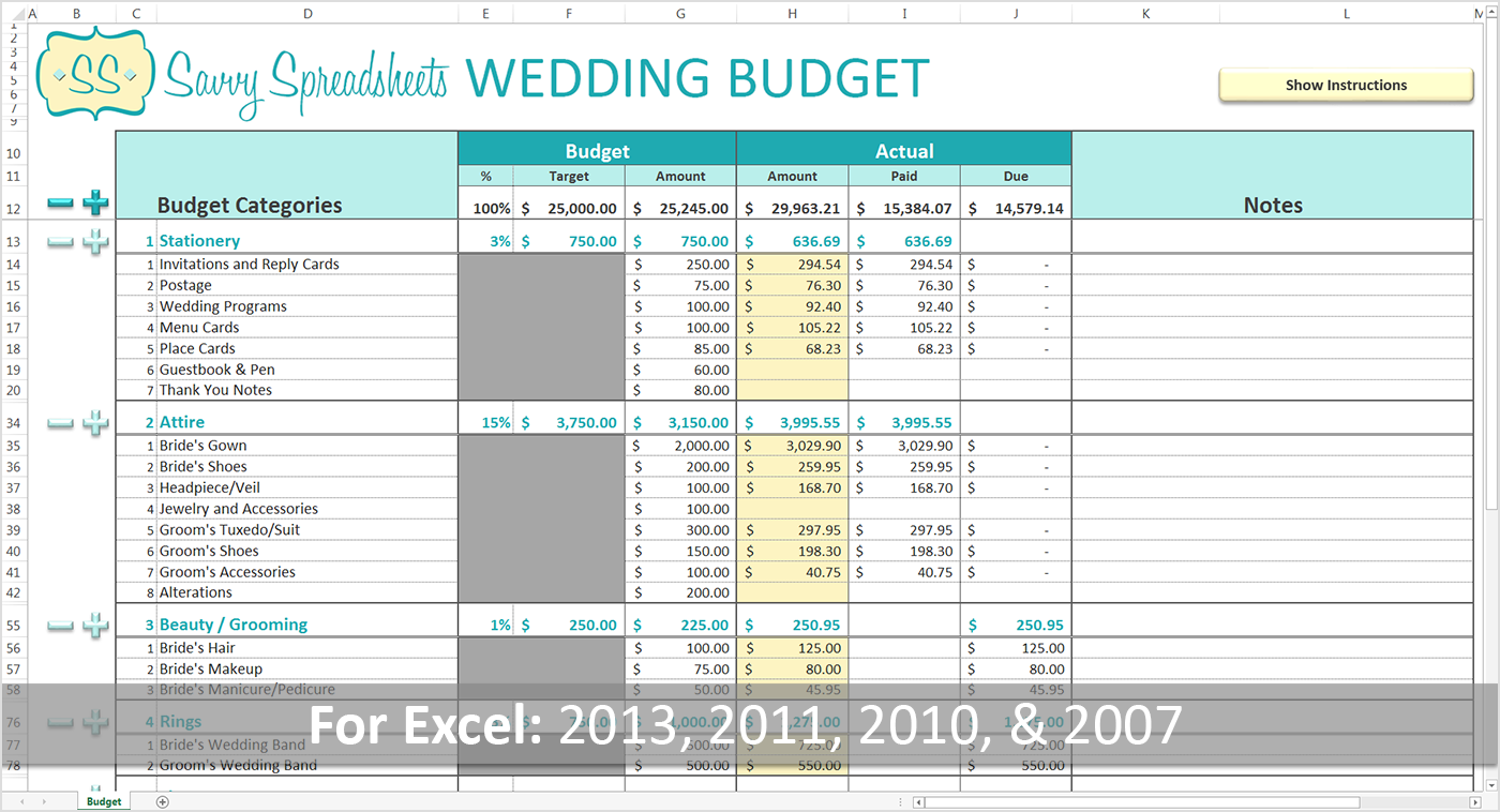 Free wedding cost breakdown spreadsheet