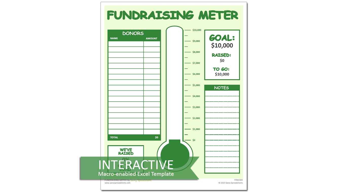 Fundraiser Tracking Spreadsheet Donation Tracker for Excel with Thermometer Chart