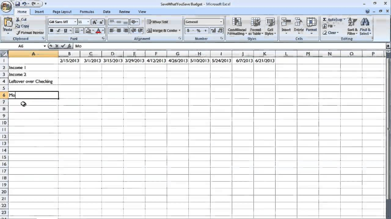 how to make a spreadsheet for monthly bills