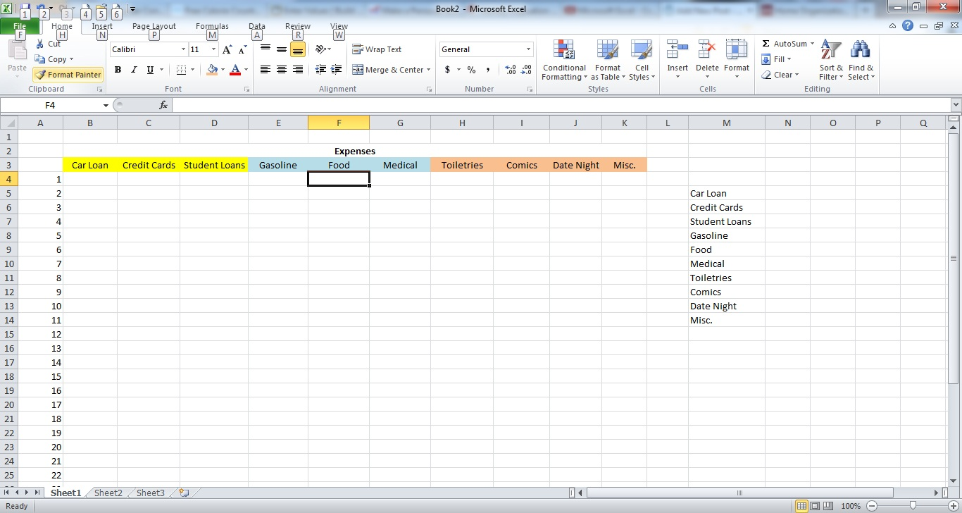 How To Make A Spreadsheet For Monthly Bills_3