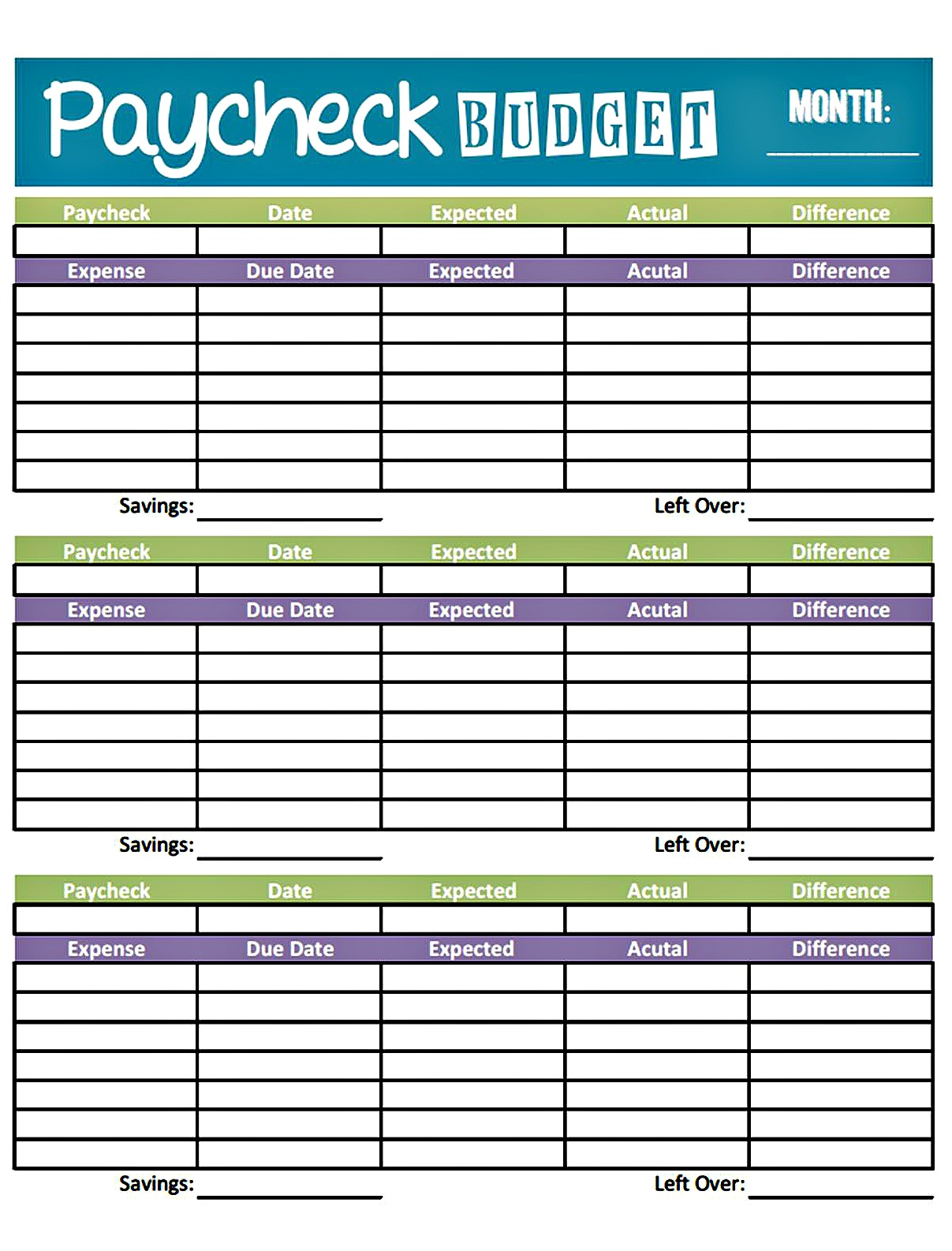 How To Set Up A Monthly Budget sheet