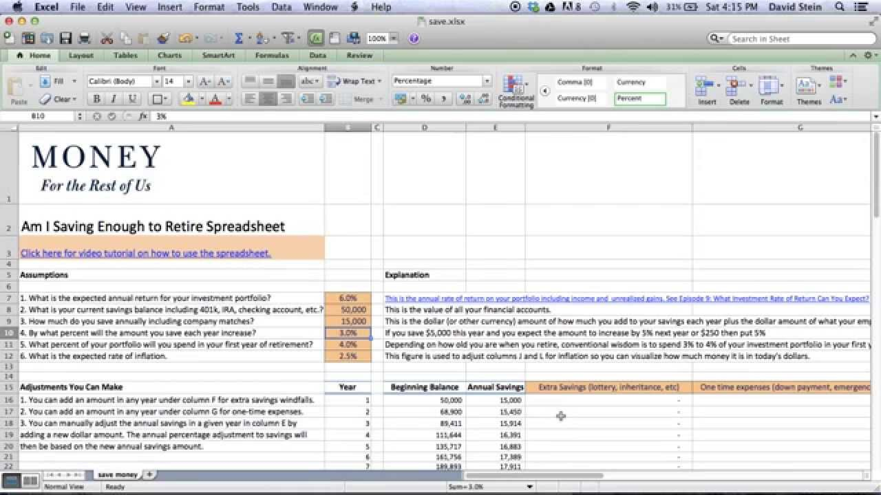 Money Saving Spreadsheet