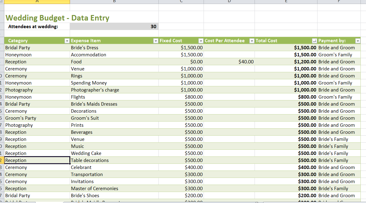Party Expenses Spreadsheet Free download Templates