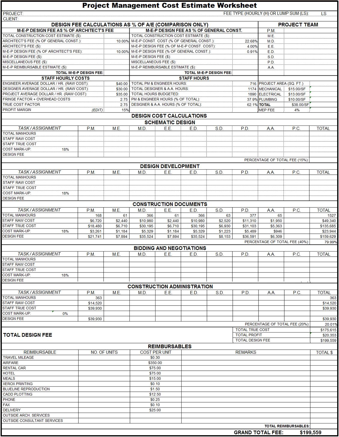 Piping Takeoff Spreadsheet