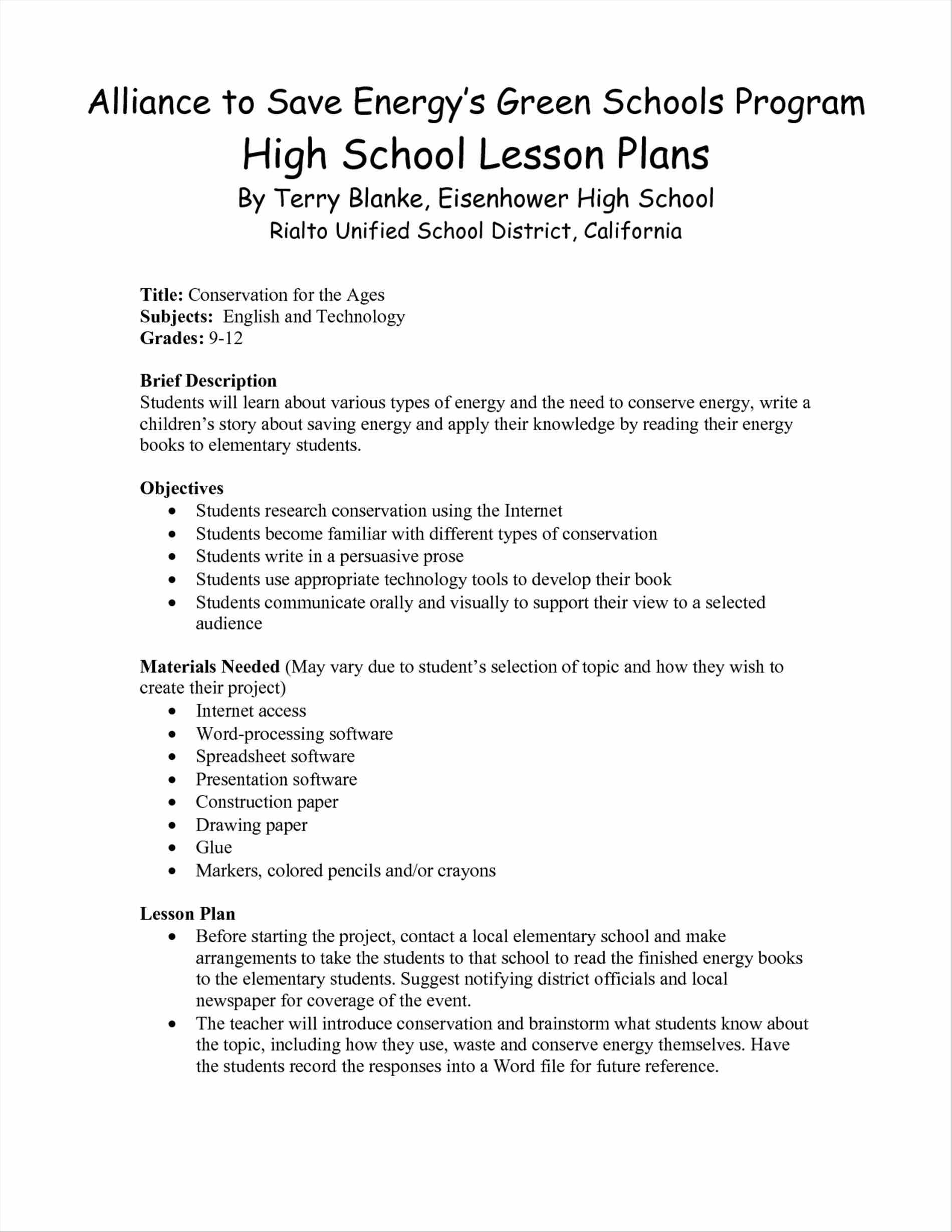 Spreadsheet Lesson Plans For High School