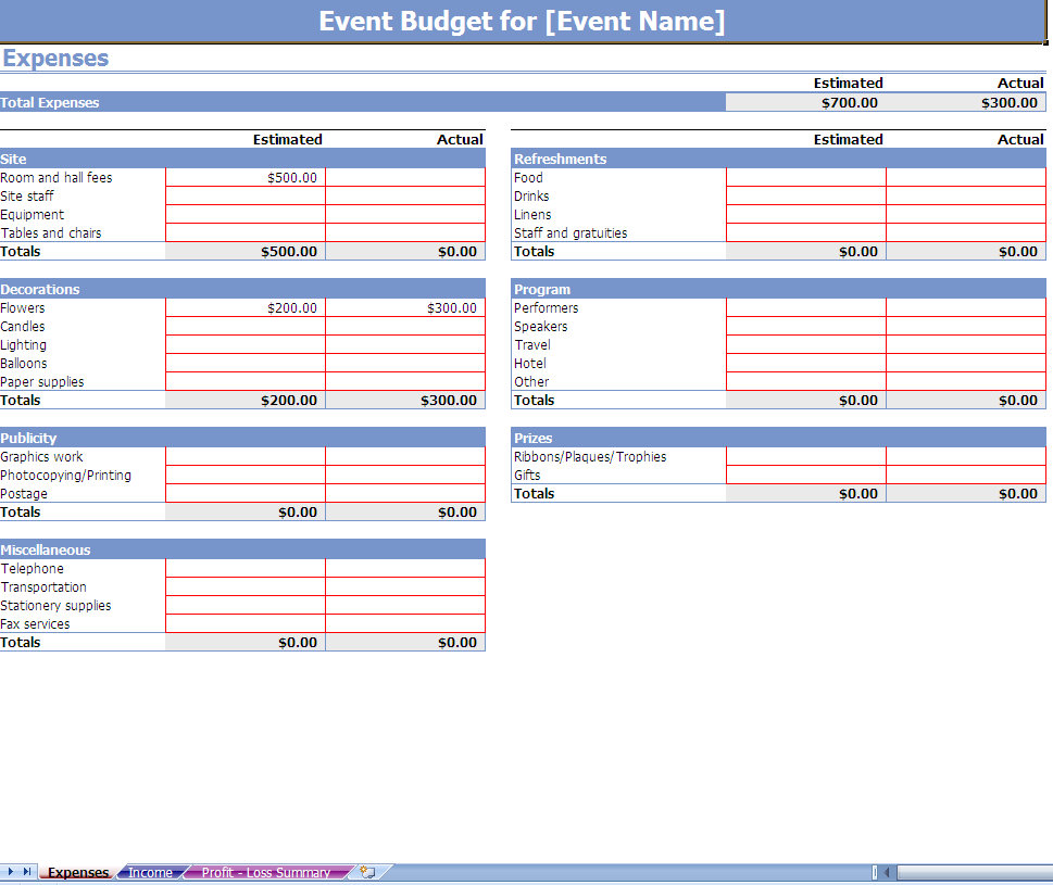 Templates wedding cost breakdown spreadsheet free