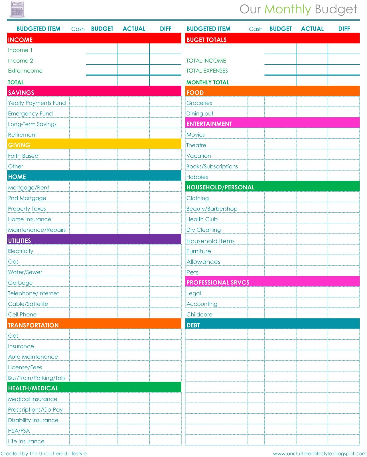 bill pay organizer spreadsheet