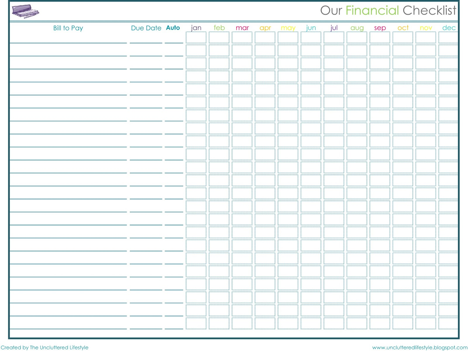bill payment log sheet