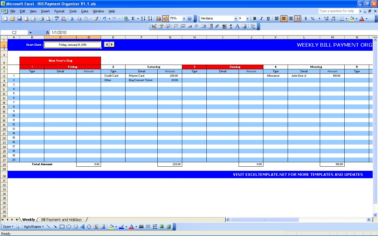 bill payment spreadsheet