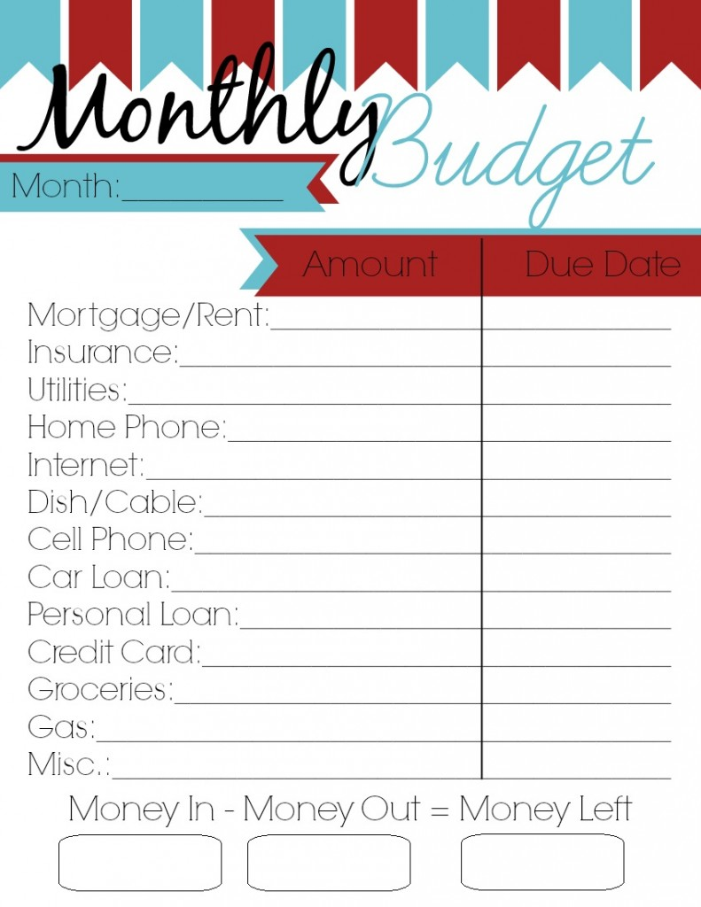blank budget worksheet printable