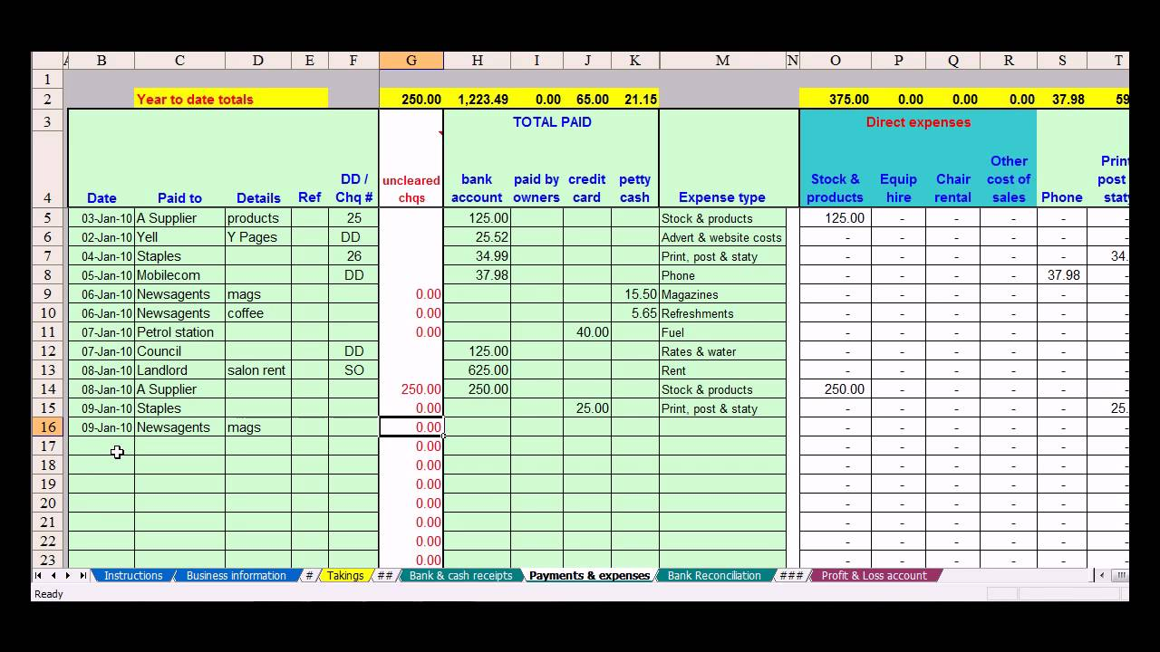 bookkeeping spreadsheet using microsoft excel (2)