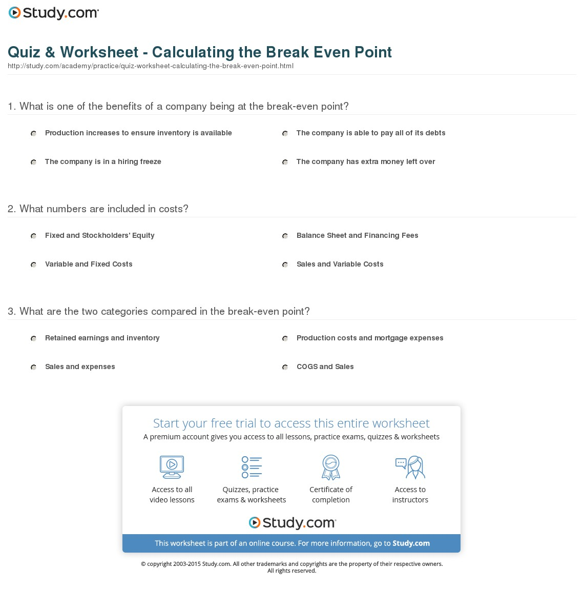 break even analysis worksheet