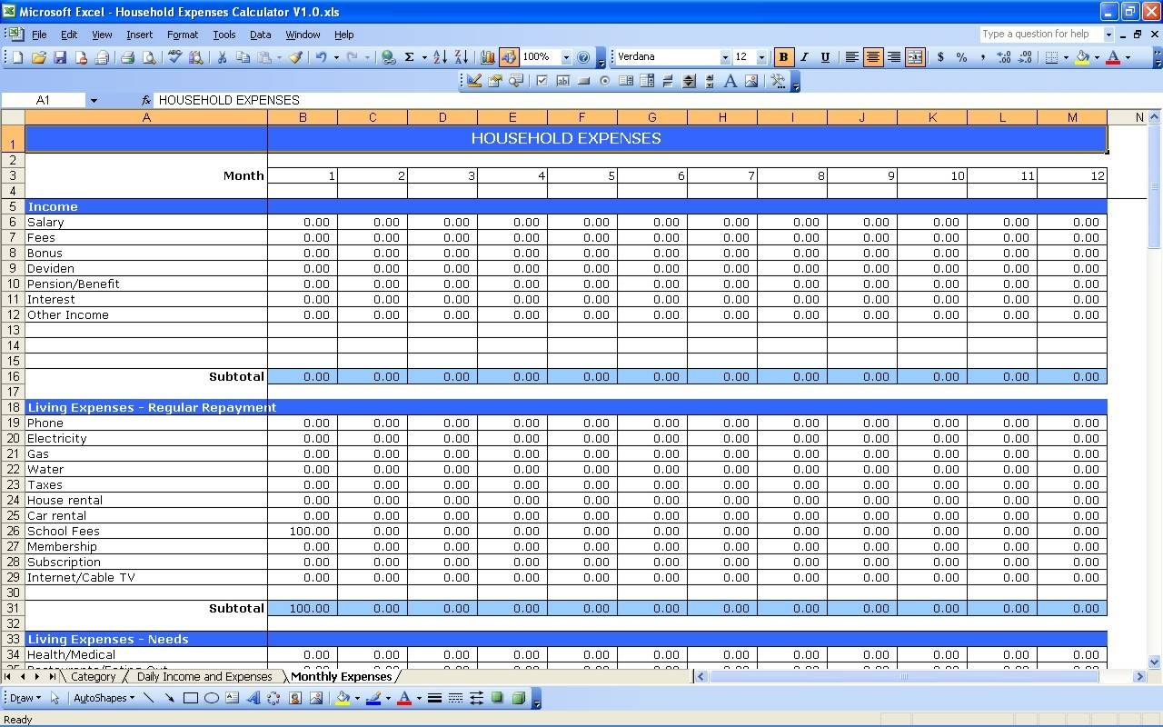business costs spreadsheet, free