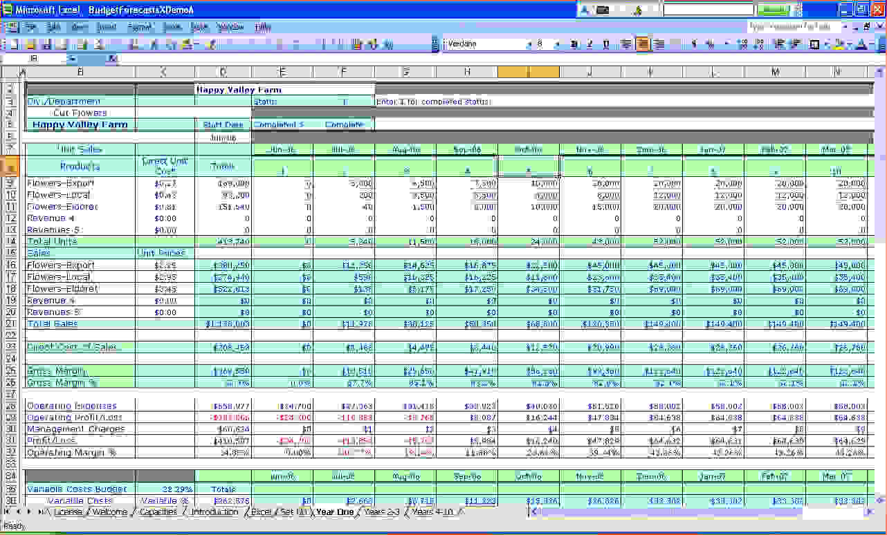 business costs spreadsheet,