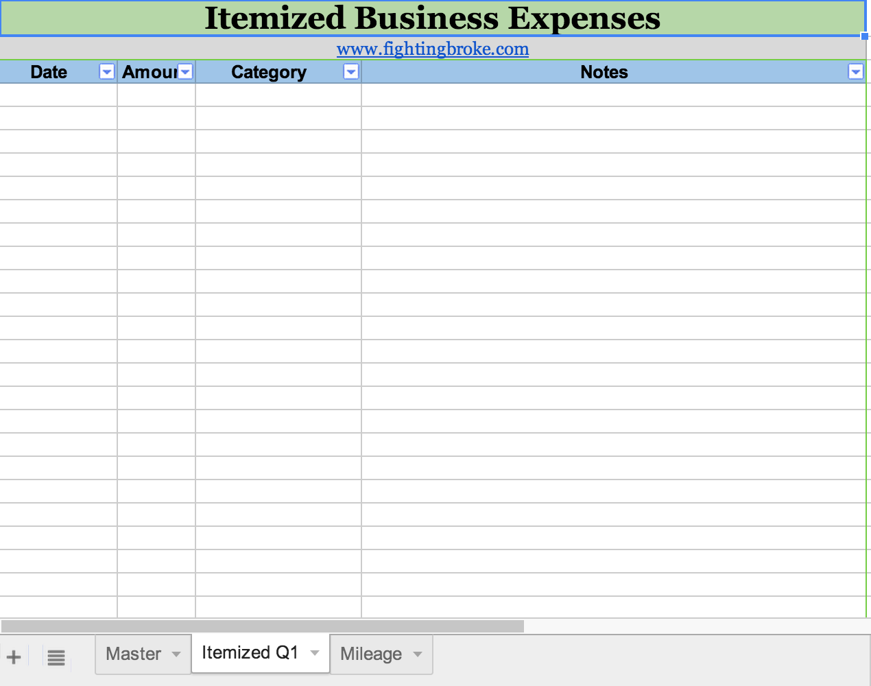 business expense spreadsheet for taxes download free