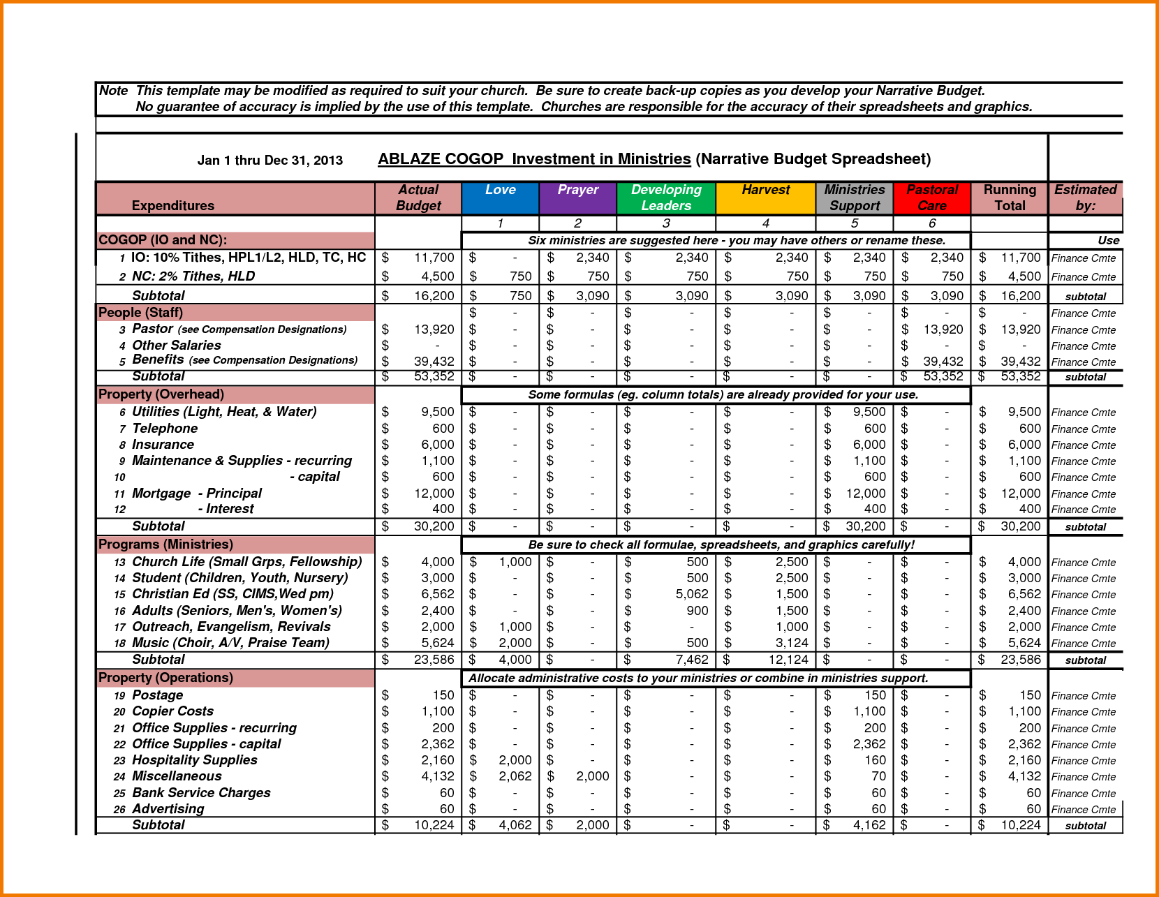 church budget excel template