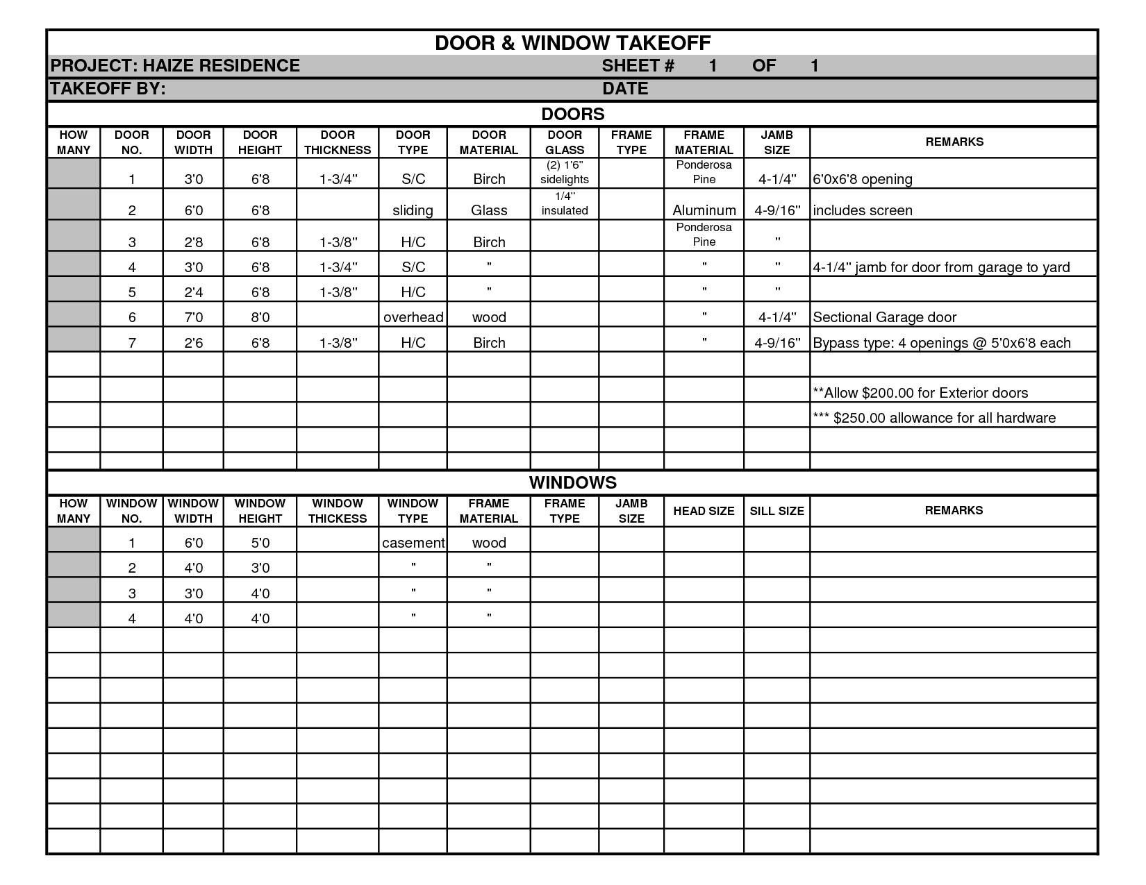 concrete quantity takeoff excel spreadsheet download