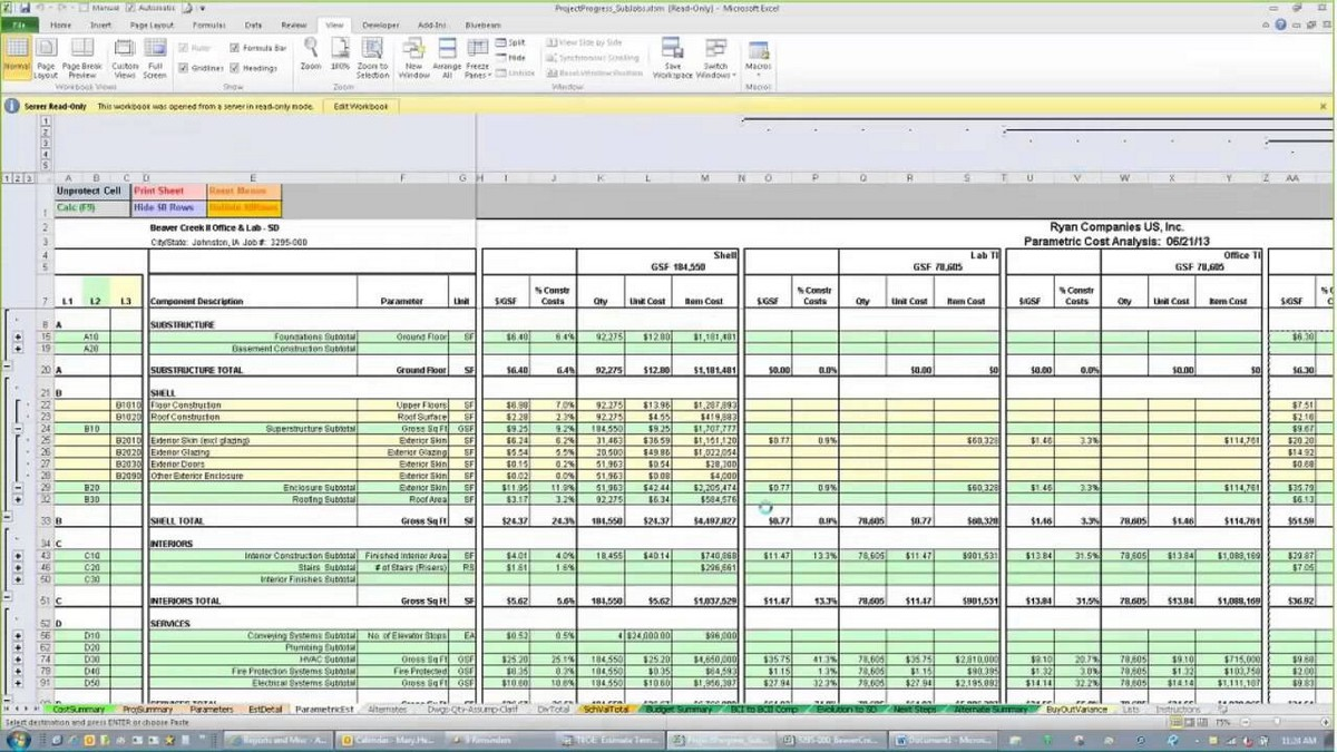 construction cost estimate excel spreadsheet