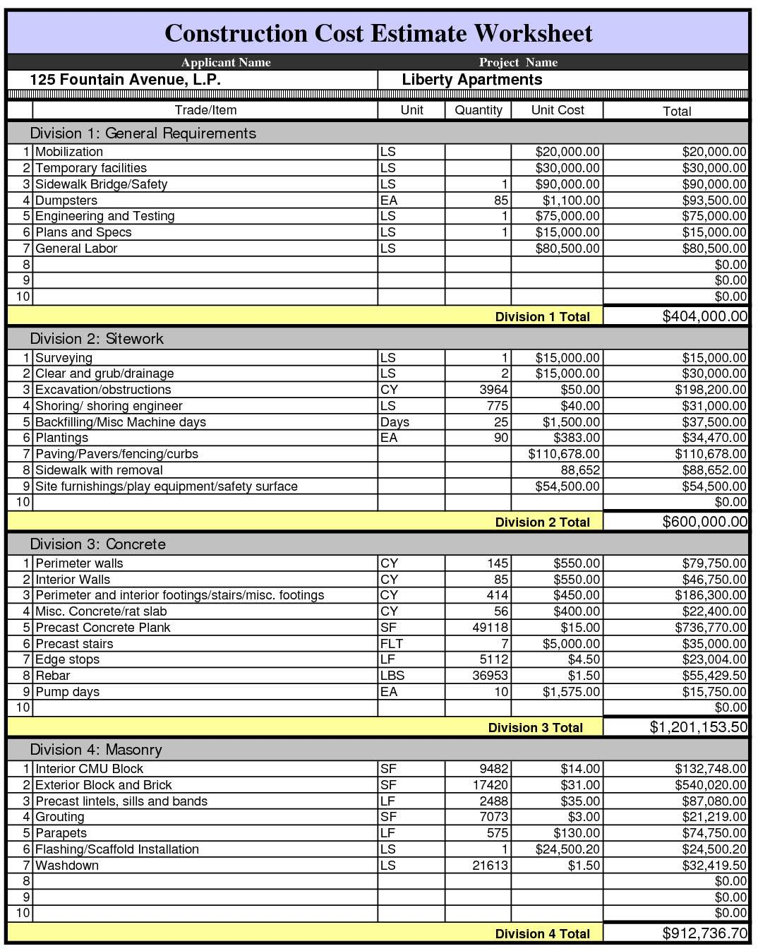 construction cost estimate spreadsheet