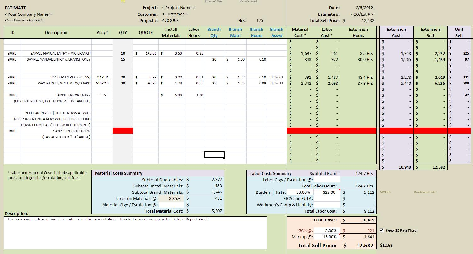 construction material takeoff excel template free