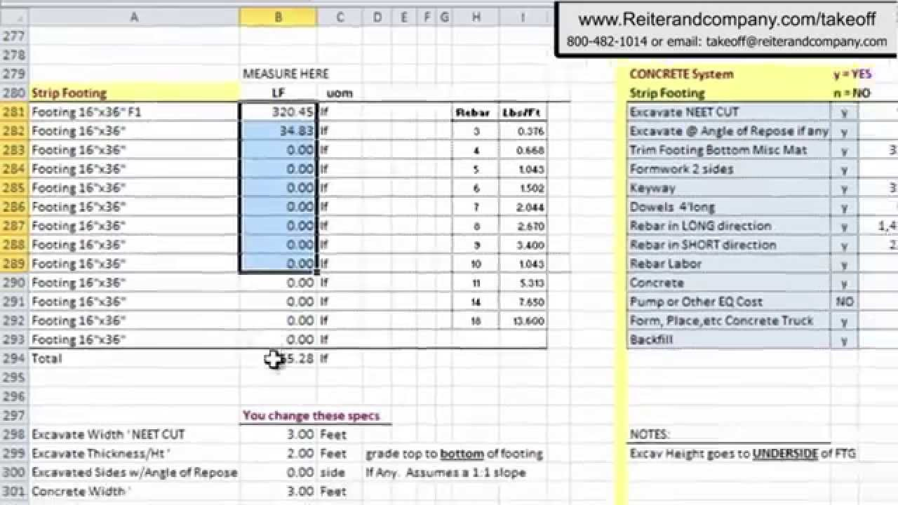 construction material takeoff excel template