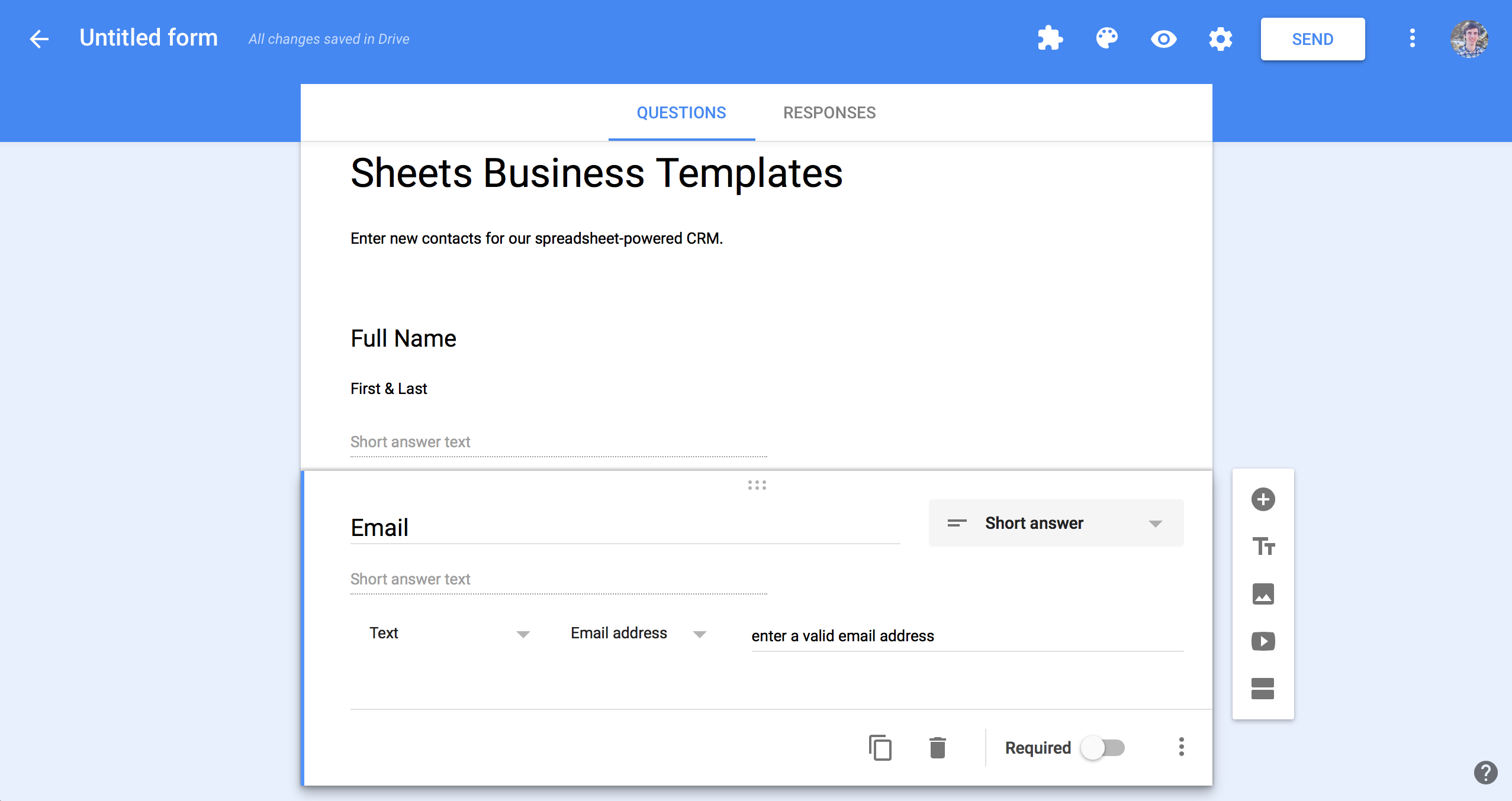 create a google spreadsheet