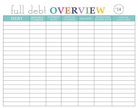 credit card payoff spreadsheet template