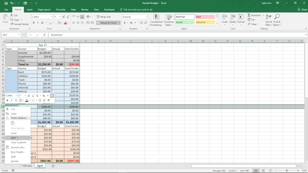 dave ramsey zero based budget form excel