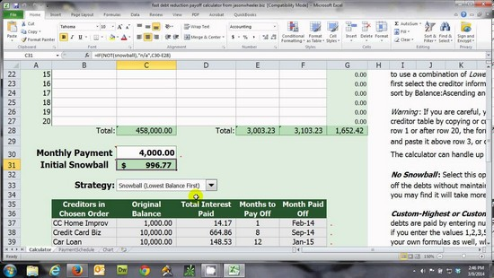debt reduction spreadsheet dave ramsey